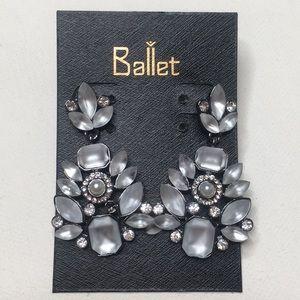 Crystal drop pearl elegant classy earrings